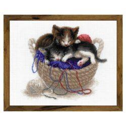Набор для вышивания RIOLIS 1724 Котята в корзине